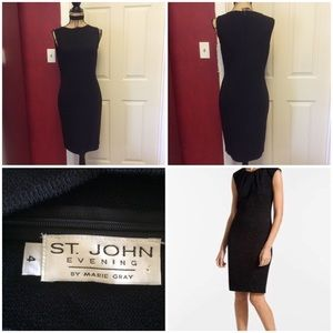 Gorgeous St. John Evening Black Knit sheath Dress
